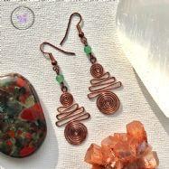 Green Aventurine Copper Xmas Tree Earrings